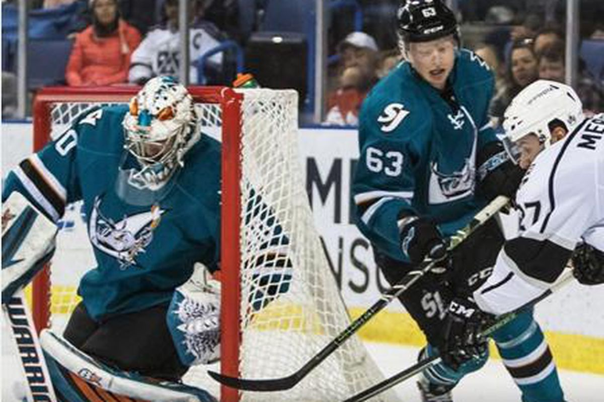 San Jose Barracuda goaltender Aaron Dell makes one of his 36-saves during the Barracuda's 3-1 Game Three loss to the Ontario Reign at Citizens Business Bank Arena Thursday night. (Instagram.com/sjbarracuda)