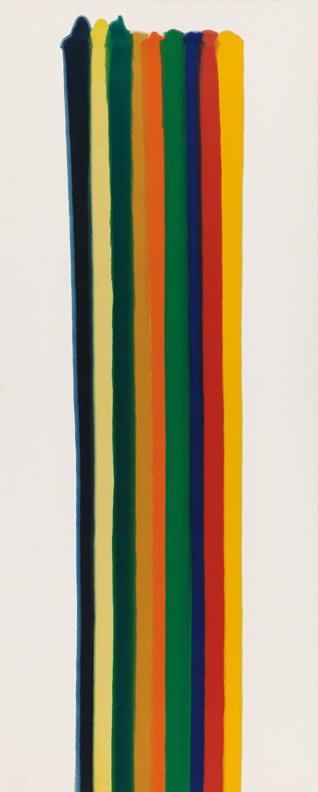 A print featuring stripes of various colors running vertically.