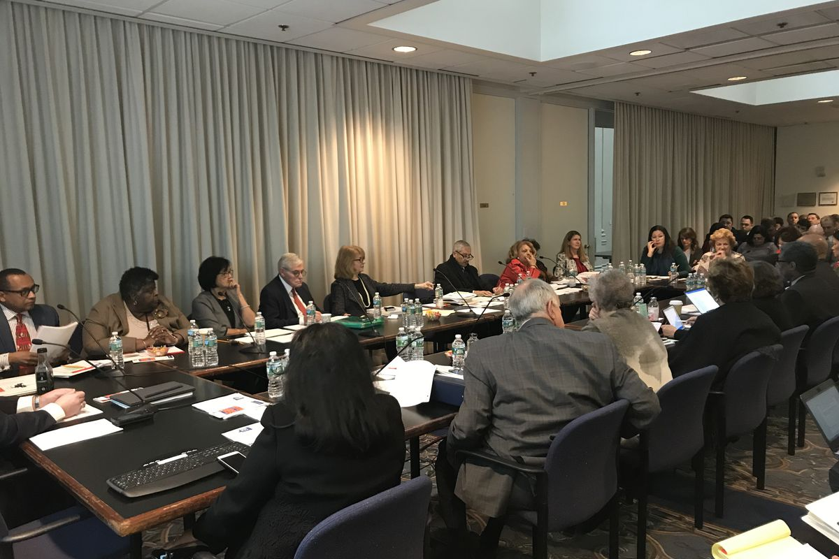 The New York Board of Regents meet at their December 2018 meeting.