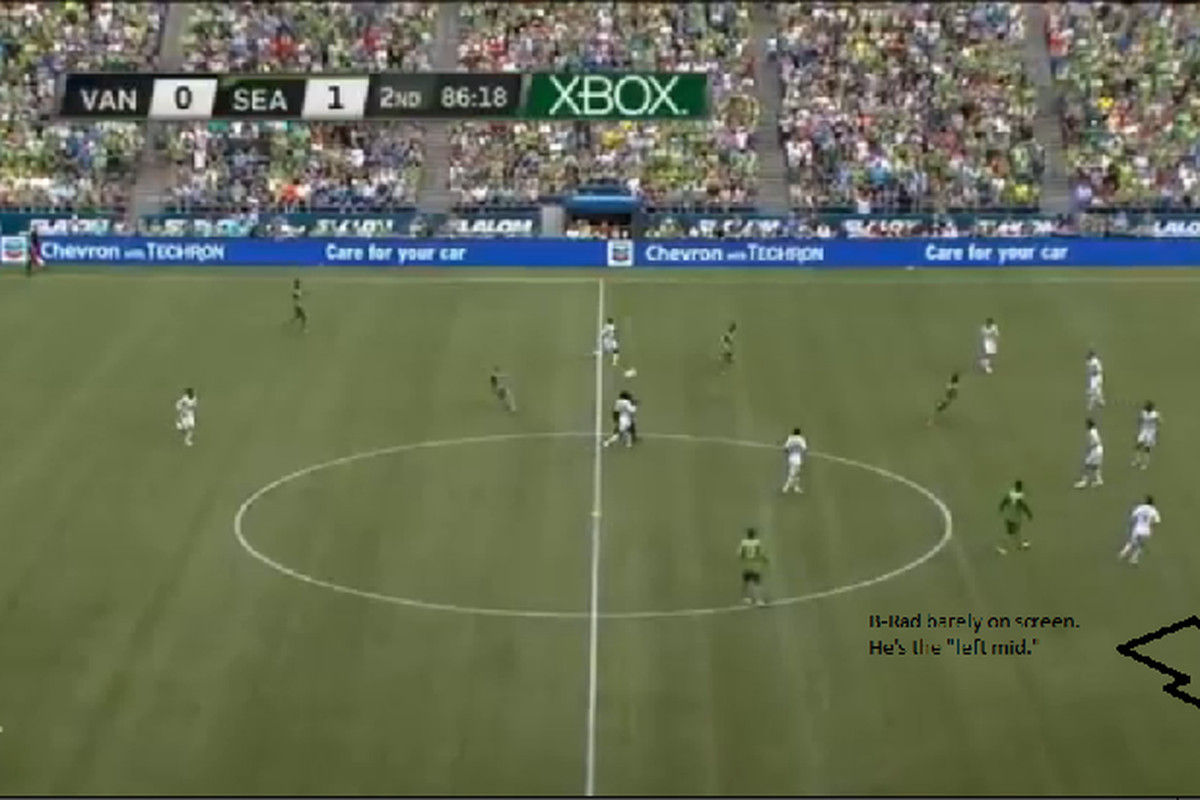 <strong>Brad Evans While The Left Mid?</strong> He's down in that corner. You can hardly see him. During the run of play he was the left mid.