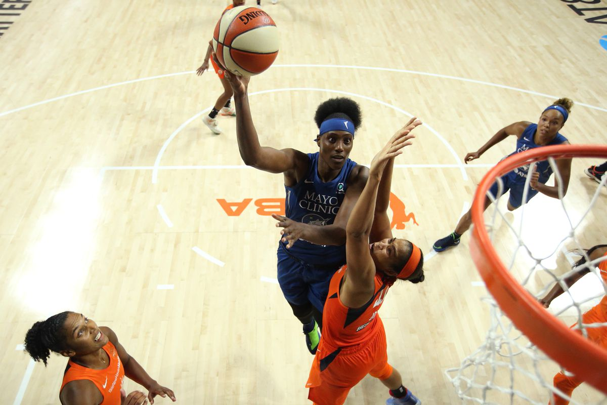 Sylvia Fowles of the Minnesota Lynx shoots the ball against the Connecticut Sun on July 26, 2020 at Feld Entertainment Center in Palmetto, Florida.