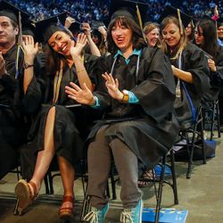 Salt Lake Community College graduates celebrate their graduation during the 2017 commencement ceremony at the Maverik Center in West Valley City on Friday, May 5, 2017.