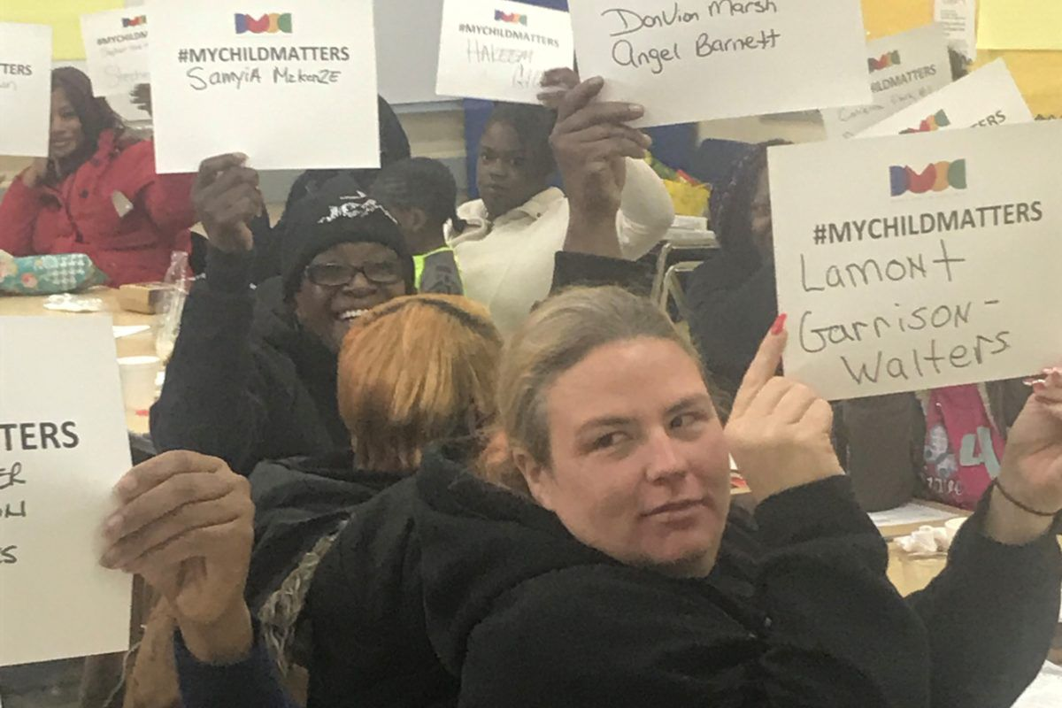 Parents at the GEE Edmonson Academy in Midtown, Detroit, showing support for SB 574.