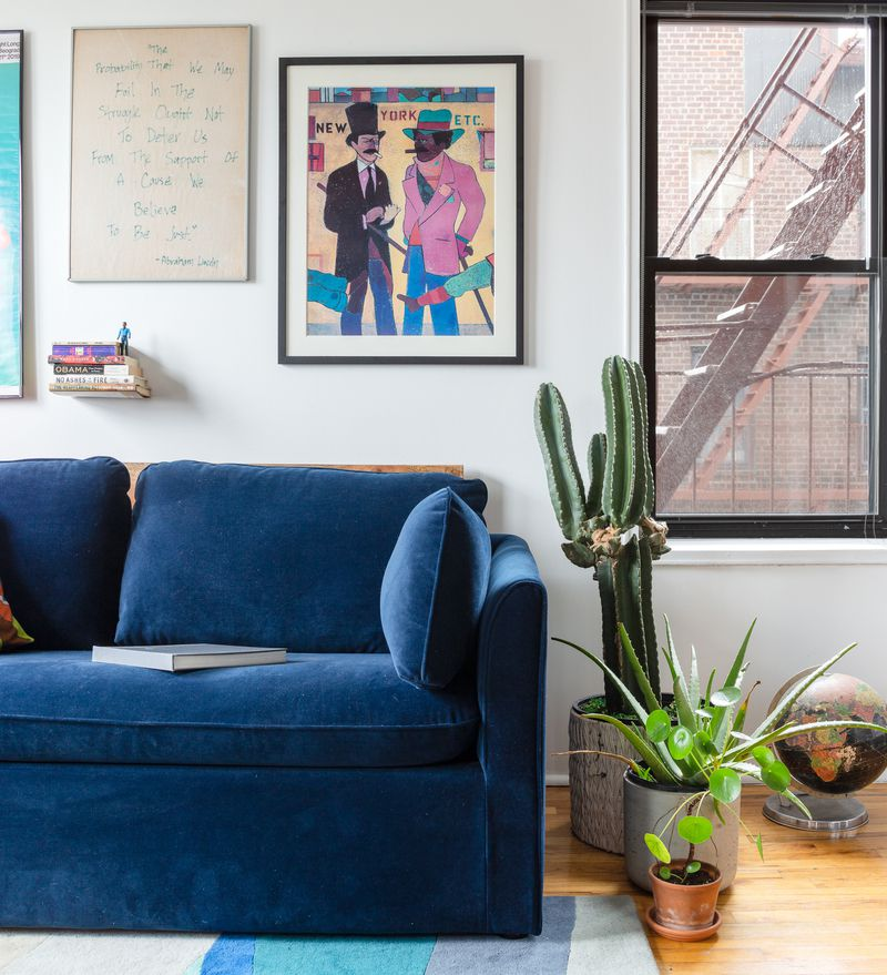 A section of a bedroom with a blue couch, a cactus in a planter, and a window.