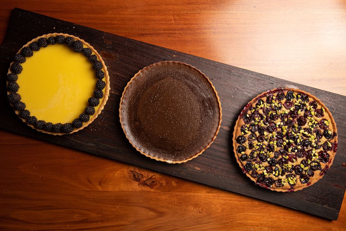 Lemon, chocolate and cherry tarte from Bicyclette Bistro in Los Angeles, California.