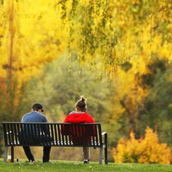 Fall leaves are enjoyed at Sugarhouse Park in Salt Lake City Sunday, Oct. 26, 2014. Fall is a time for new beginnings.