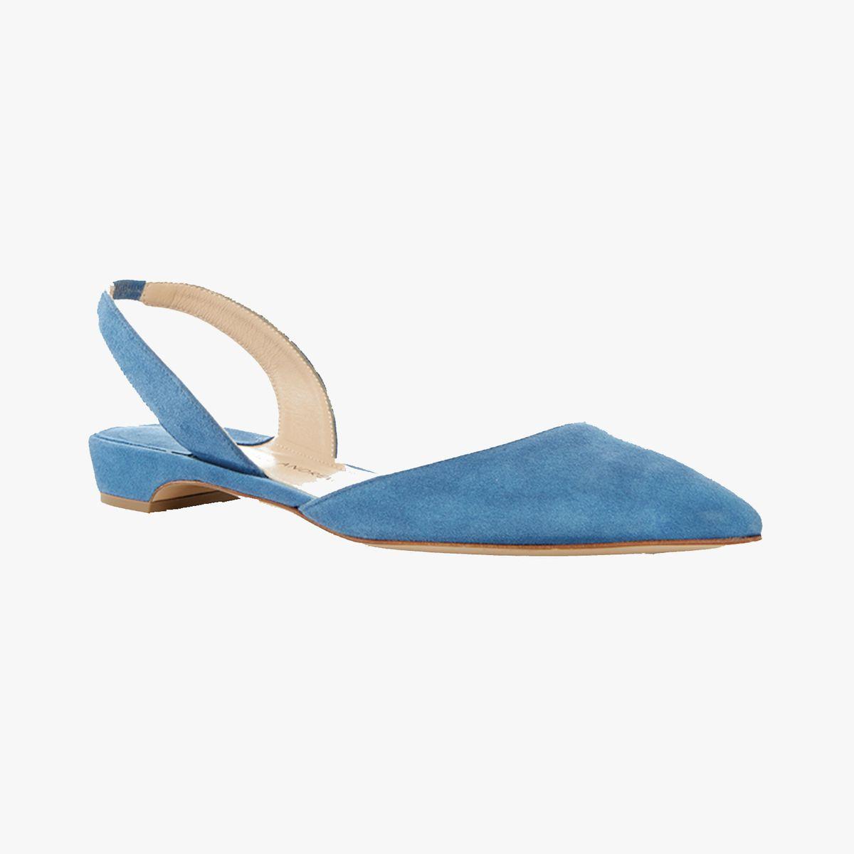 Blue suede slingbacks