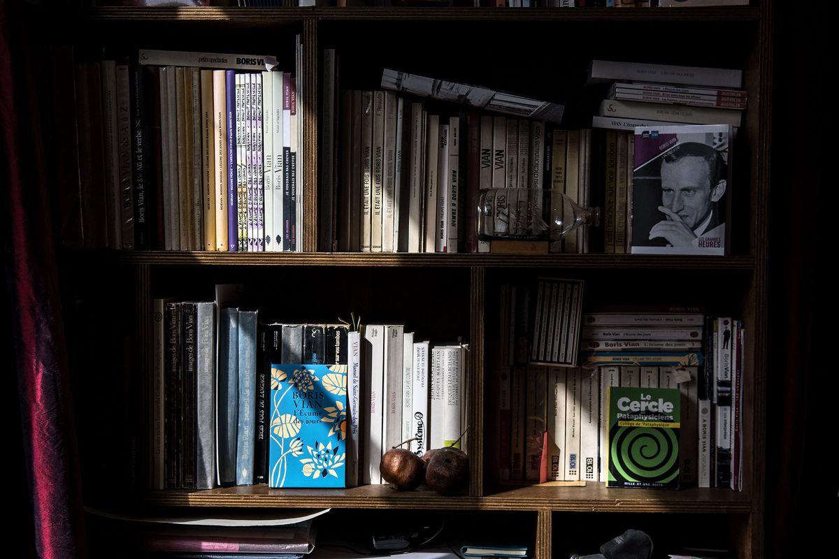 A bookshelf full of books.