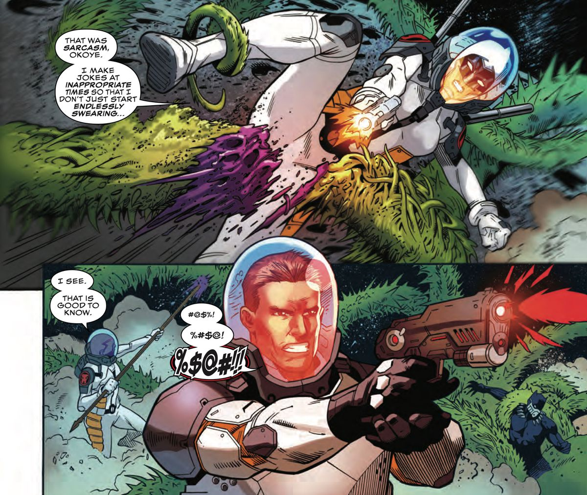 Mid-fight, Mockingbird explains to Okoye that she makes jokes during combat to keep from endlessly swearing, as John Jameson, swears repeatedly behind them, in Black Panther and the Agents of Wakanda #3, Marvel Comics (2019).