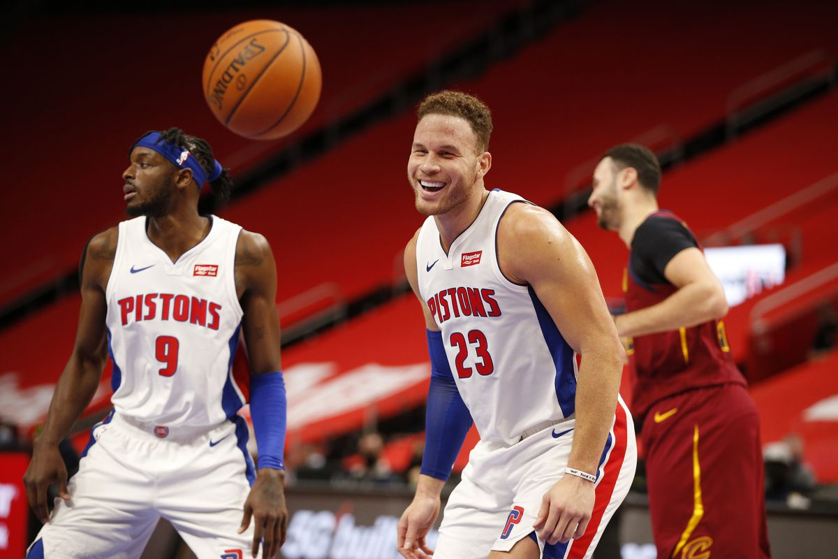 Blake Griffin of the Detroit Pistons smiles during the game against the Cleveland Cavaliers on December 26, 2020 at Little Caesars Arena in Detroit, Michigan.