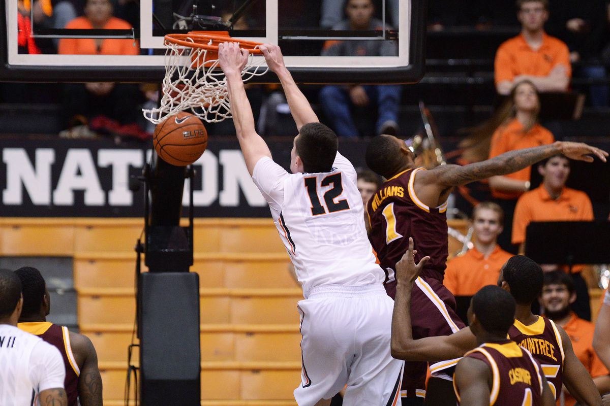Drew Eubanks made 8 of his 9 shots for Oregon State, mostly because most of them were straight down dunks like this one!