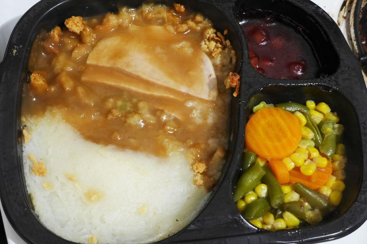A Hungry-Man turkey TV dinner