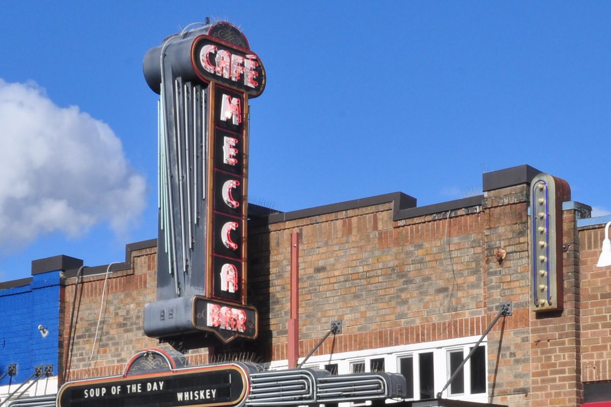 The neon sign of Mecca Cafe