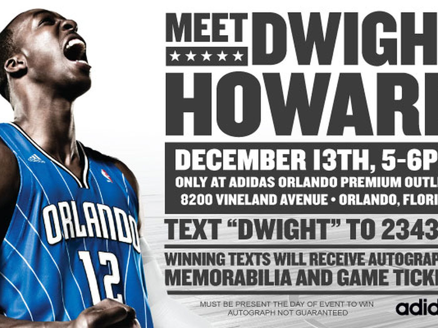 be6570afa8f2d Meet Dwight Howard at Adidas Outlet on December 13th - Orlando ...