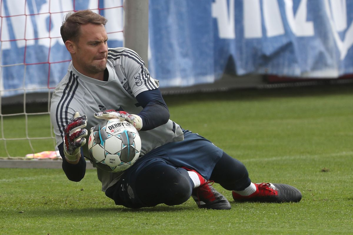 Goalkeeper Manuel Neuer of FC Bayern Muenchen practices during a training session at Saebener Strasse training ground on May 22, 2020 in Munich, Germany.