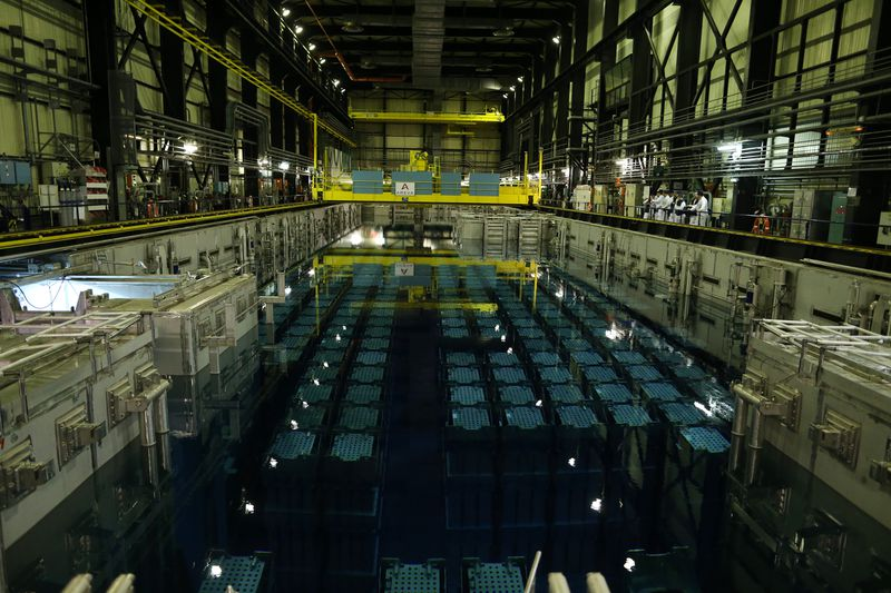 Spent fuel from nuclear reactors at a nuclear waste reprocessing plant in Beaumont-Hague in northwestern France.