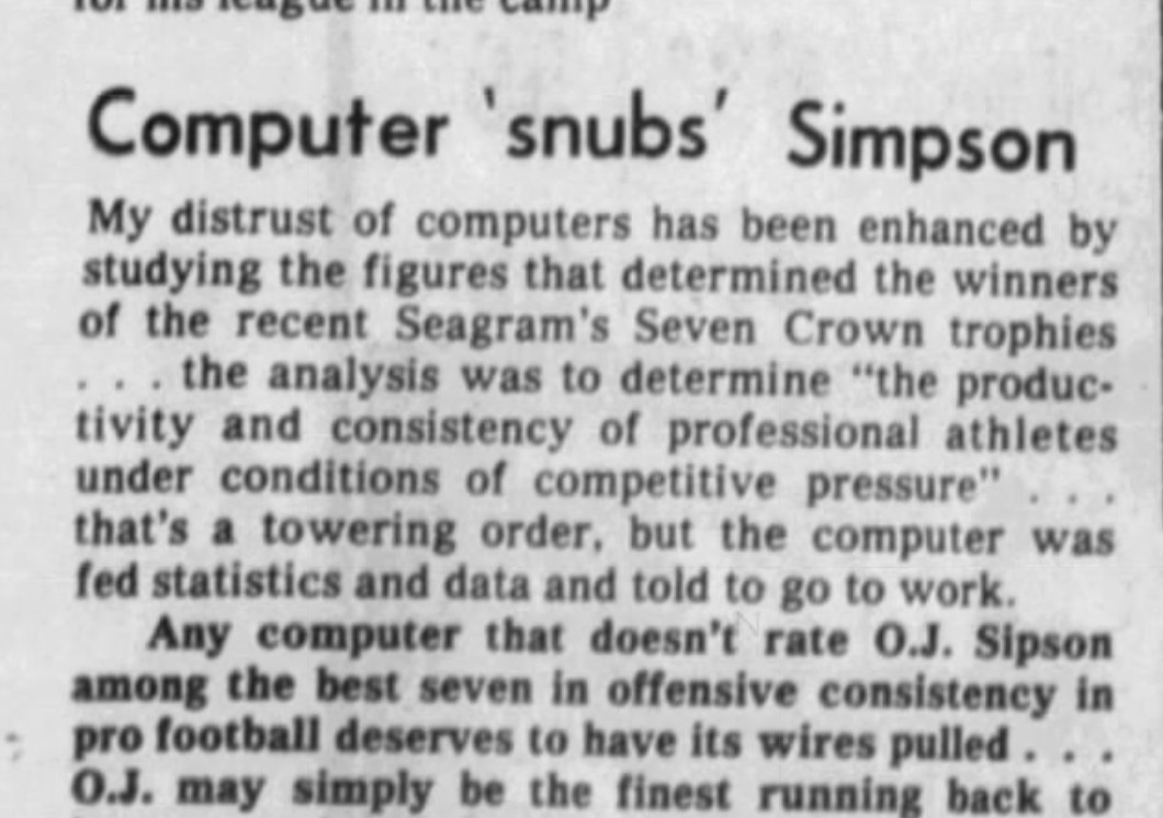 """News clipping from 1975 with the headline """"Computer 'snubs' Simpson"""" and some text describing the author's """"distrust"""" of computers and belief that a computer that doesn't rate O.J. Simpson highly """"deserves to have its wires pulled."""""""