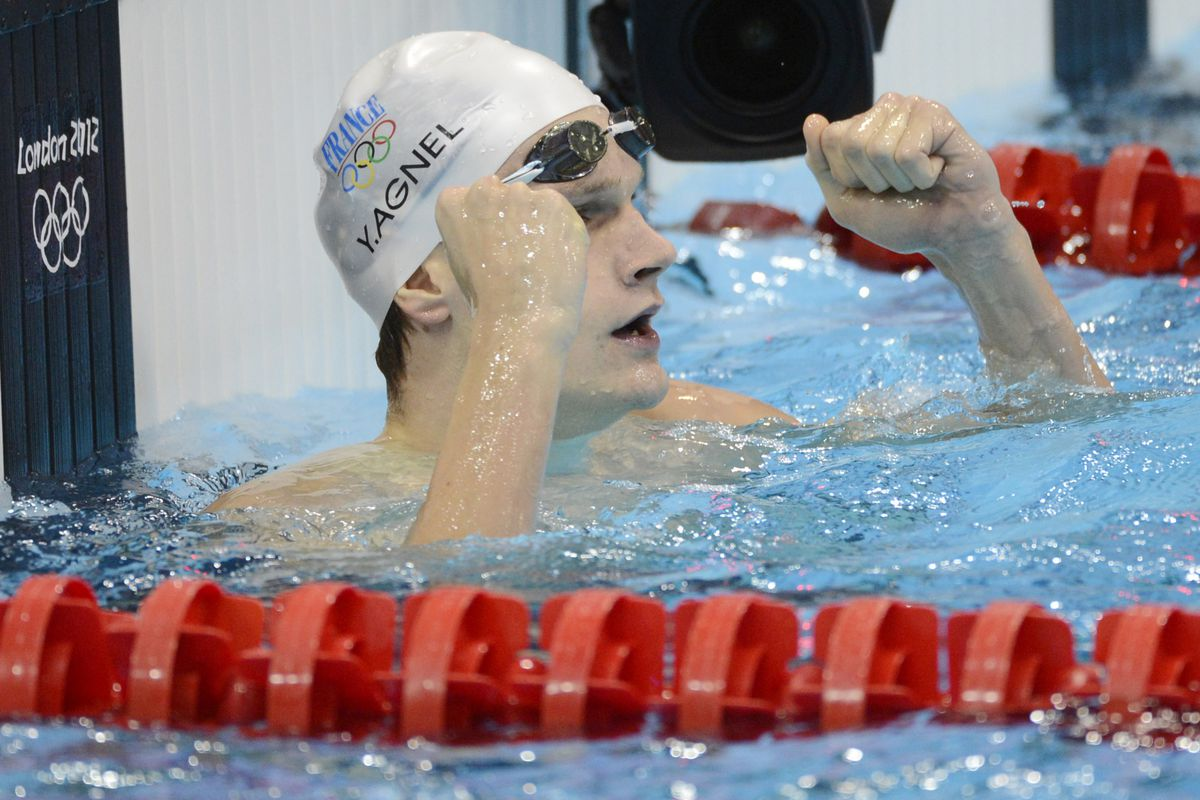Jul 30, 2012; London, United Kingdom; Yannick Agnel (FRA) reacts after winning the men's 200m freestyle finals during the London 2012 Olympic Games at Aquatics Centre. Mandatory Credit: Richard Mackson-USA TODAY Sports