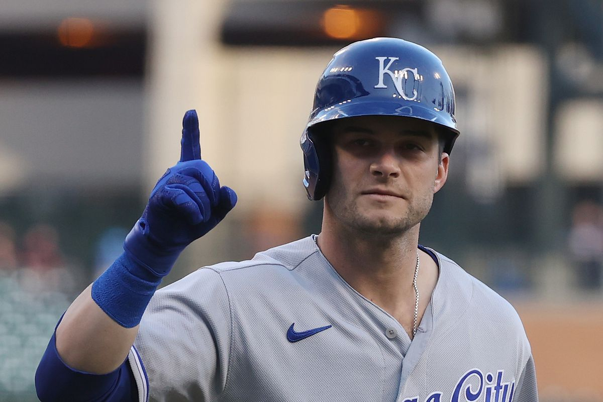 Andrew Benintendi #16 of the Kansas City Royals celebrates his second inning home run against the Detroit Tigers at Comerica Park on April 23, 2021 in Detroit, Michigan.