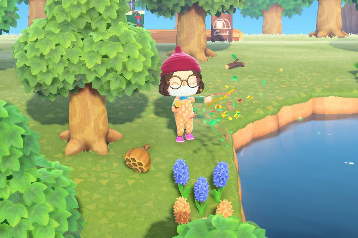 Well-dressed Animal Crossing character shooting off a party popper to scare away bees