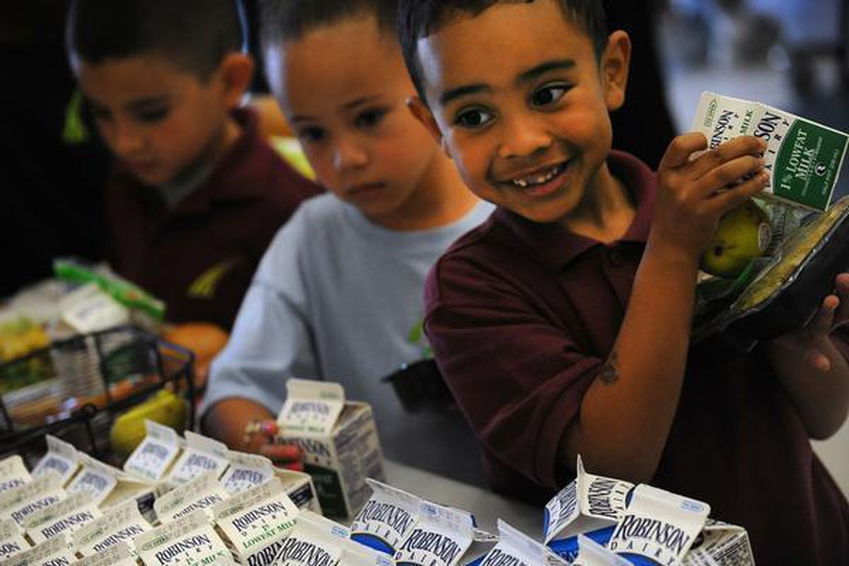 Marcus Landry, 5, in the lunch line at SOAR at Green Valley Ranch charter school.