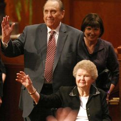 President Thomas S. Monson and his wife Frances leave the General Relief Society Meeting at the Conference Center on Temple Square in Salt Lake City on Saturday, Sept. 29, 2012.