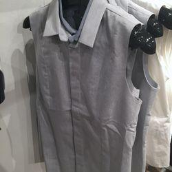 Sleeveless denim shirt, $129 (was $276)