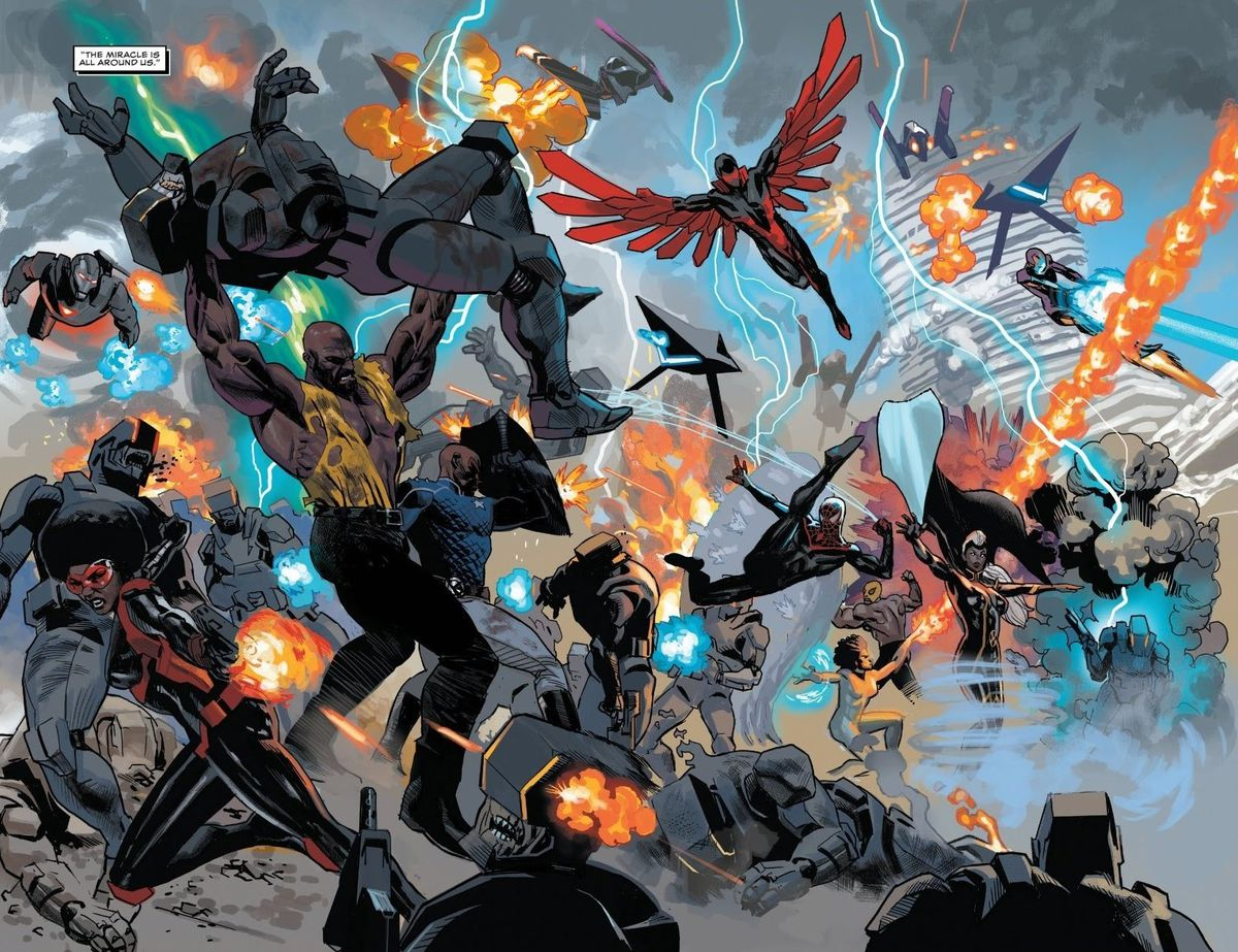 Black superheroes of the Marvel universe — Misty Knight, War Machine, Luke Cate, Patriot, the Falcon, Iron Heart, Storm, Spider-Man, and more — battle the forces of Emperor N'Jadaka in Wakanda in Black Panther #24, Marvel Comics (2021).