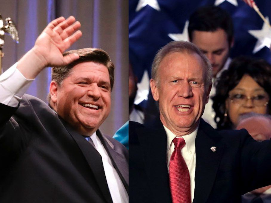 J.B. Pritzker, left, celebrates winning the Democratic gubernatorial primary in Chicago in March, while Gov. Bruce Rauner, right, celebrates his GOP primary victory, also in Chicago. | AP Photos/Charles Rex Arbogast and Nam Y. Huh