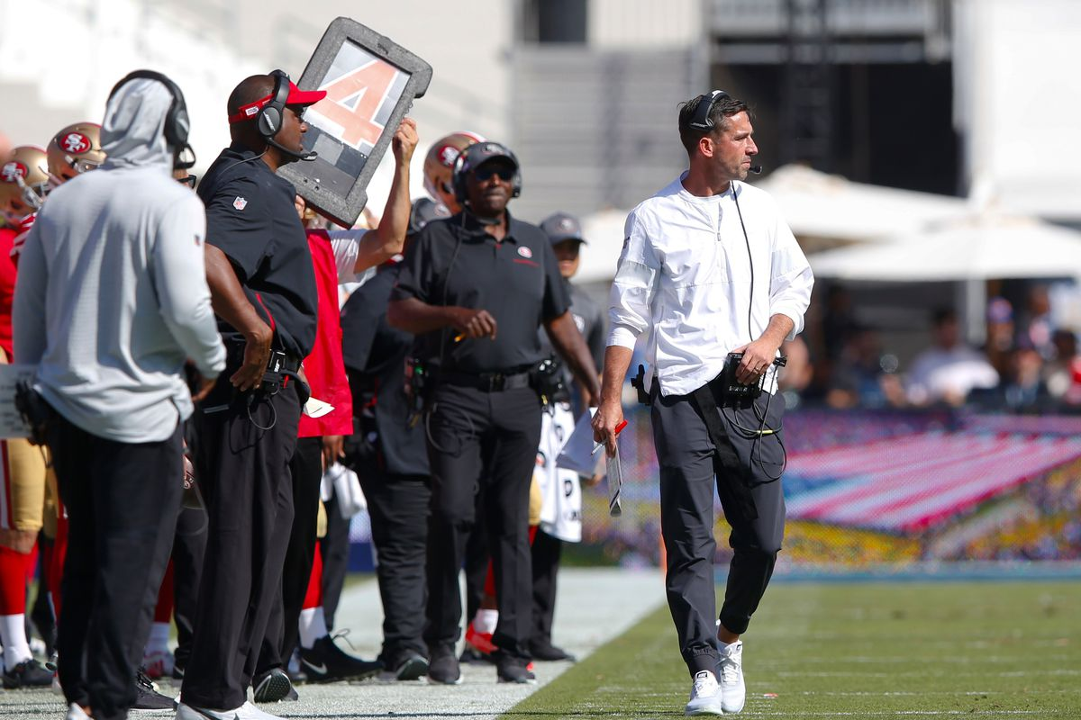 Head Coach Kyle Shanahan of the San Francisco 49ers stands on the field during the game against the Los Angeles Rams at the Los Angeles Memorial Coliseum on October 13, 2019 in Los Angeles, California.