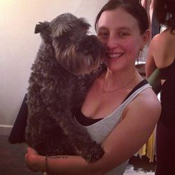 Patrick the Dog with his mom, One Down Dog founder Jessica Rosen.