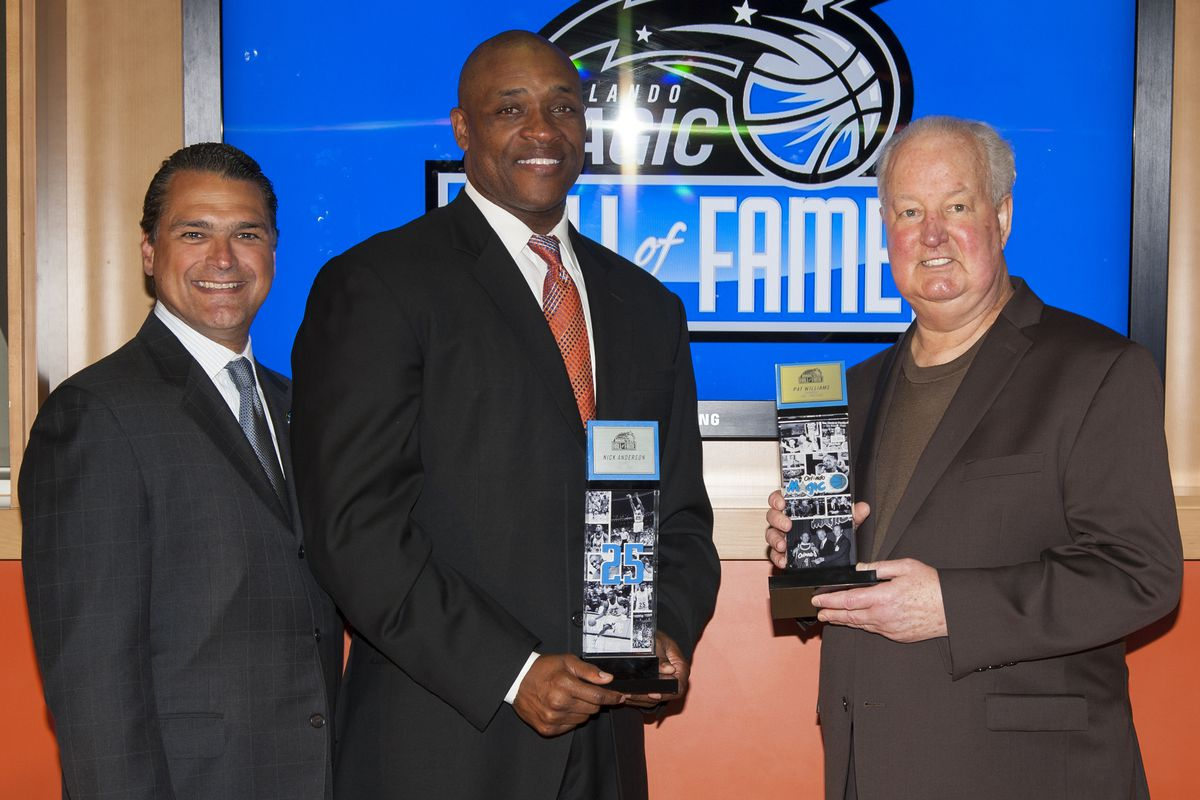 Nick Anderson, Alex Martins, and Pat Williams at the Orlando Magic Hall of Fame induction ceremony
