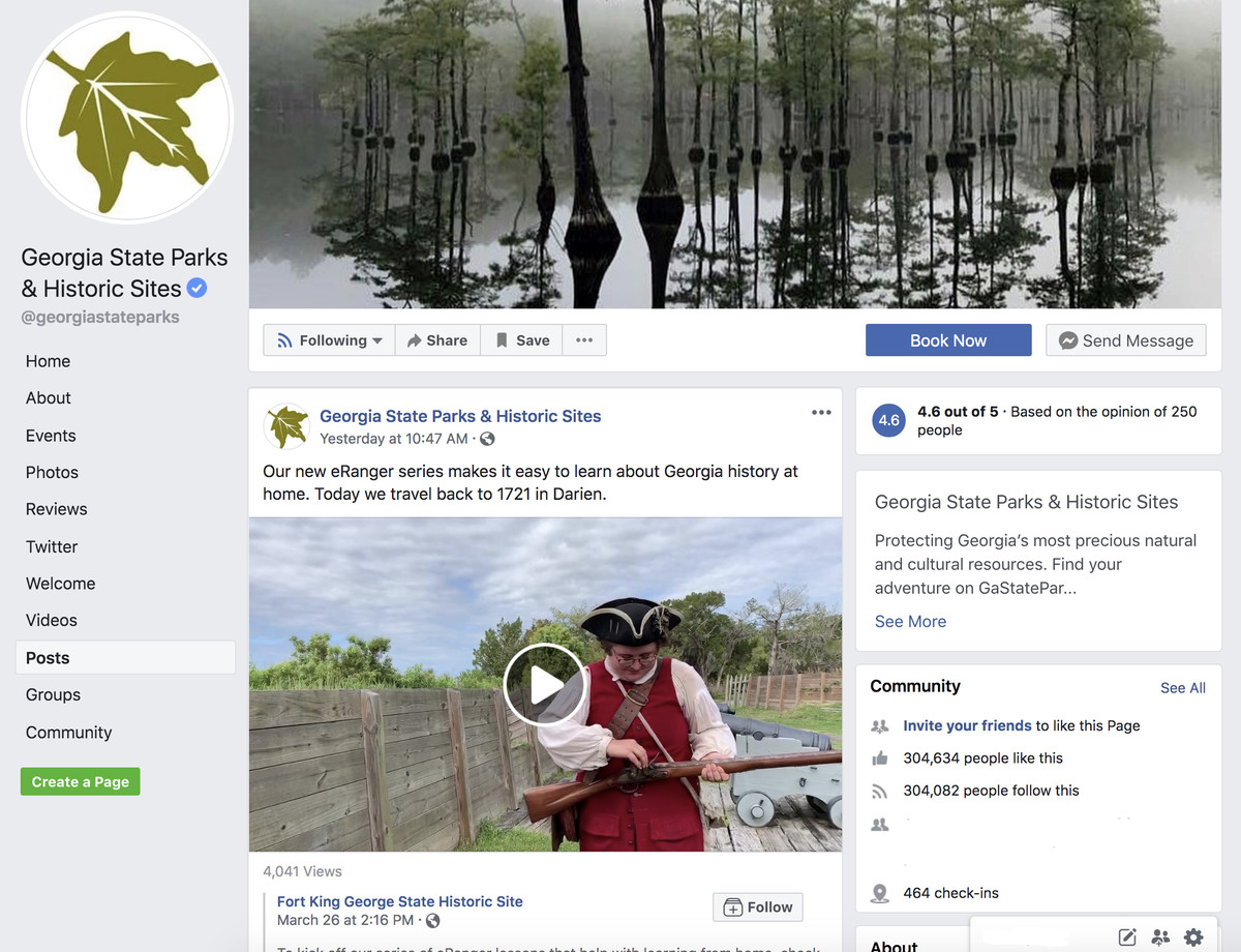 Screenshot of Georgia State Park's Facebook page.