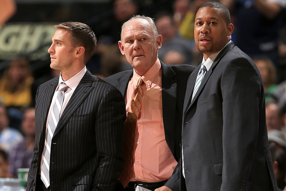 Left to right: Chad Iske, George Karl, and Melvin Hunt of the Nuggets.