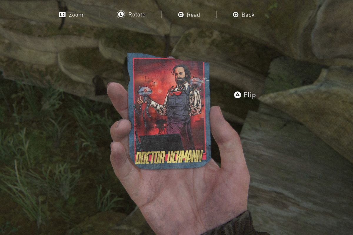 A collectible card of Doctor Uckmann (Neil Druckmann) in The Last of Us 2.