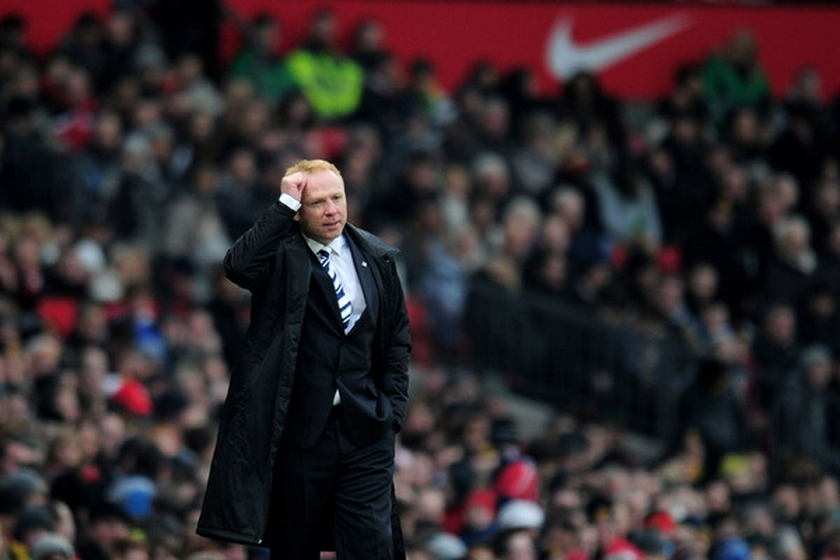 Alex McLeish scratches his head, as do many Villa fans at his decisions.