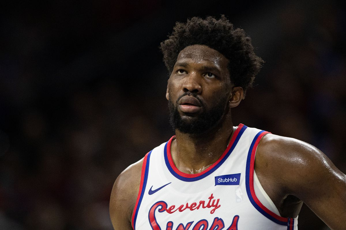 Philadelphia 76ers center Joel Embiid looks on during the second quarter against the Dallas Mavericks during the second quarter at Wells Fargo Center.