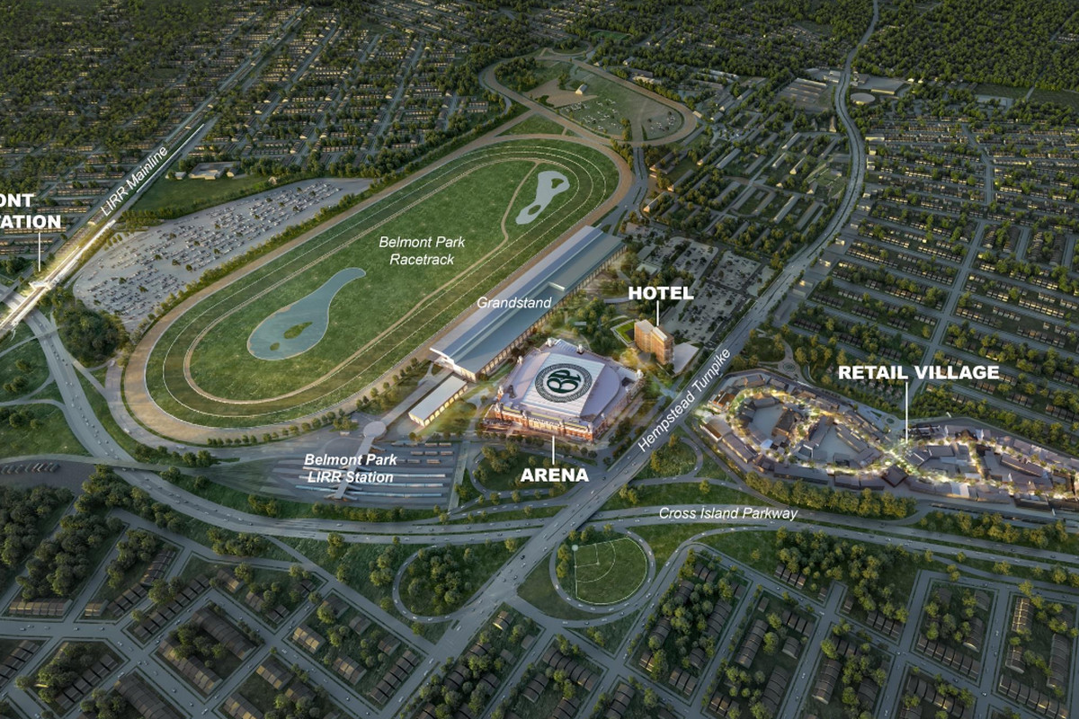 Developer rendering of the New York Islanders' arena and retail development at Belmont Park