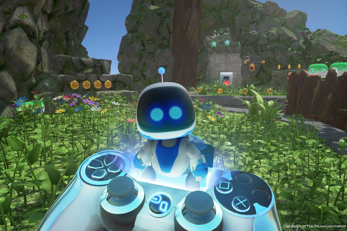 Astro Bot Rescue Mission - holding controller in front of Astro Bot