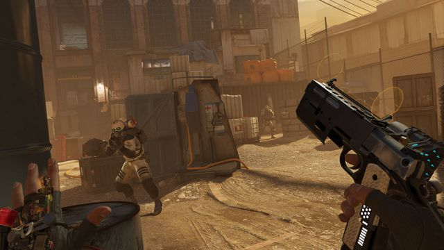 Half-Life Alyx: the player holds a gun as Combine soldiers approach