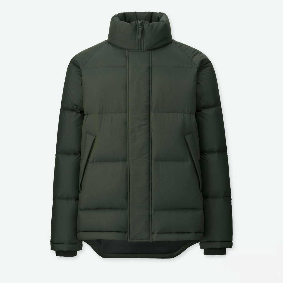 An olive puffer jacket