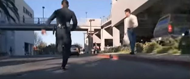 """The T-1000 chases John Connor on foot at the Northridge Fashion Center in """"Terminator 2."""""""