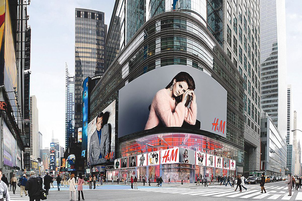 """A rendering of the Times Square store via <a href=""""http://www.wwd.com/retail-news/retail-features/hm-making-aggressive-us-push-6848050?navSection=issues"""">WWD</a>"""