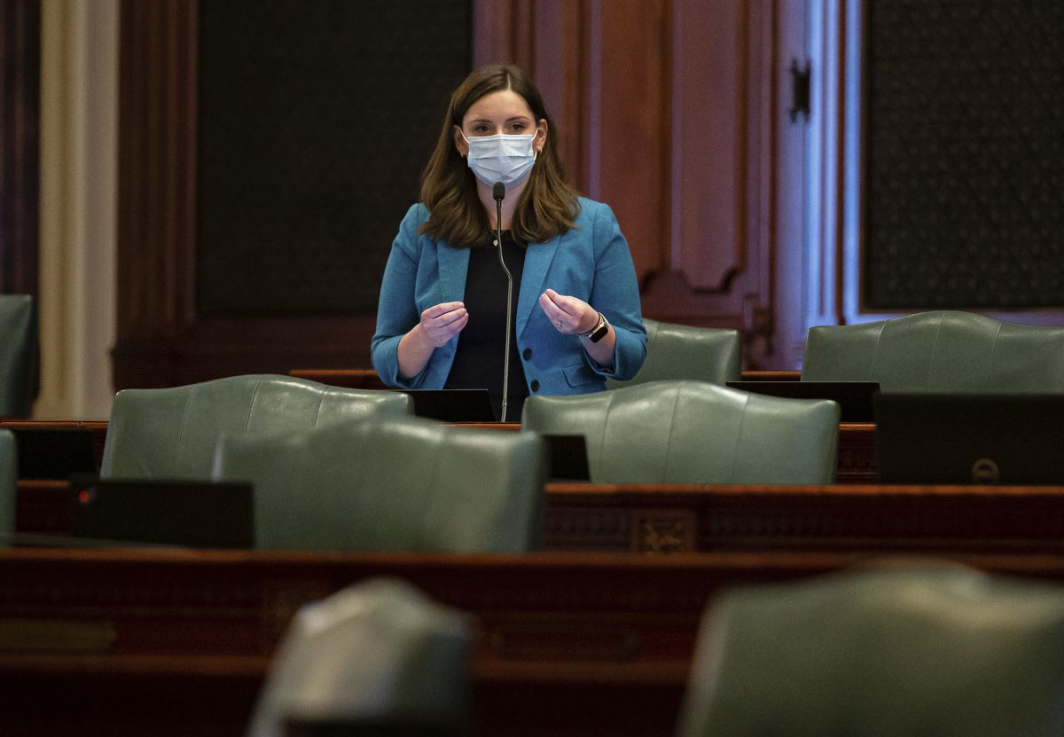 State Rep. Avery Bourne, R-Morrisonville, speaks during debate of the new House Rules on Wednesday.