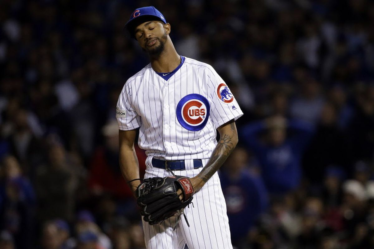 216319462 Cubs reliever Carl Edwards Jr. reacts after walking Dodgers pitcher Yu  Darvish during the sixth inning of Game 3 of the NLCS. (AP Photo Nam Y. Huh)