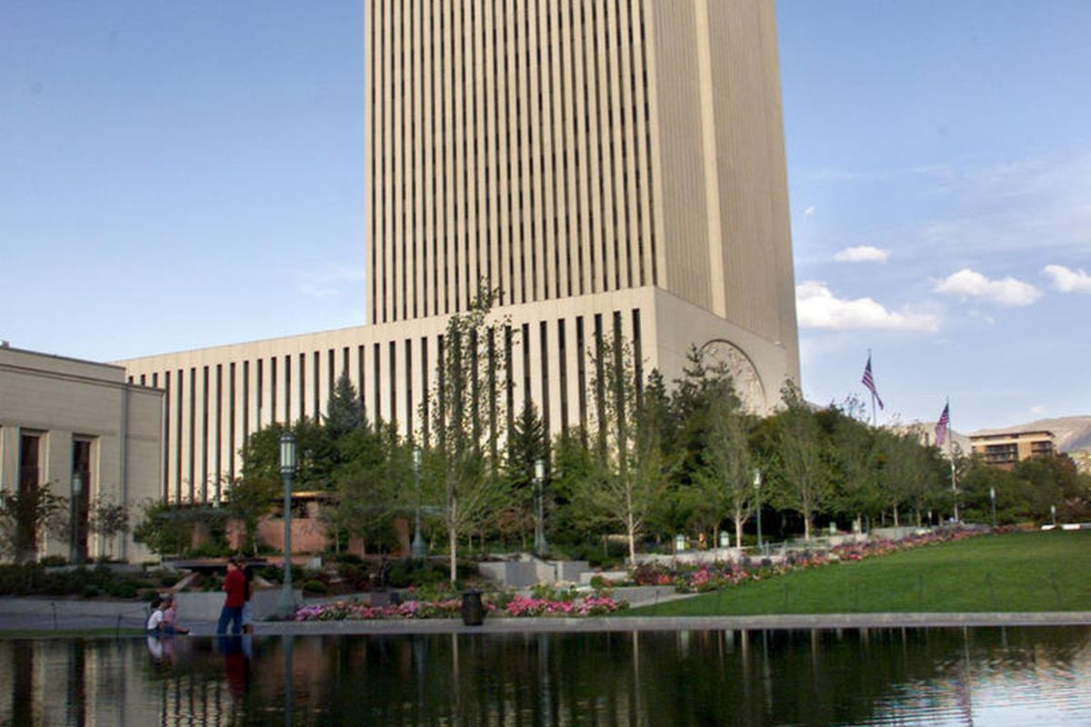 FILE - LDS Church Office Building, Tuesday Sept. 25, 2001. Two weeks after the LDS Church sent a letter to MormonLeaks asking it to remove copyrighted church material from its website, MormonLeaks hired an attorney who threatened the church with legal act