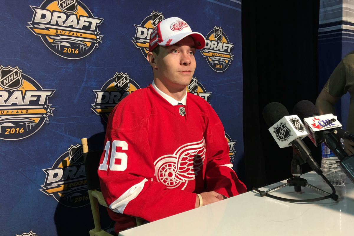 Jordan Sambrook after being drafted by the Detroit Red Wings 137th overall in the 2016 NHL Entry Draft