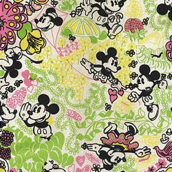 """""""An ode to Disney"""" by Lilly Pulitzer.  The cutesy charm of Lilly Pulitzer isn't just in its jellybean colors and hidden garden critters, it's also the story of how the brand was born: The real-life Lilly Pulitzer set up a fruitstand in Palm Beach, Fla., and made juice. She started wearing bold printed frocks to camouflage the stains she'd get over the course of the day."""