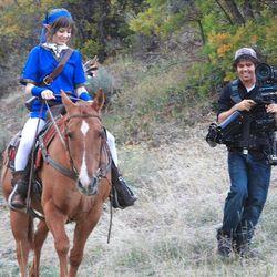Lindsey Stirling and Devin Graham during the video shoot for Stirling's Zelda music video.