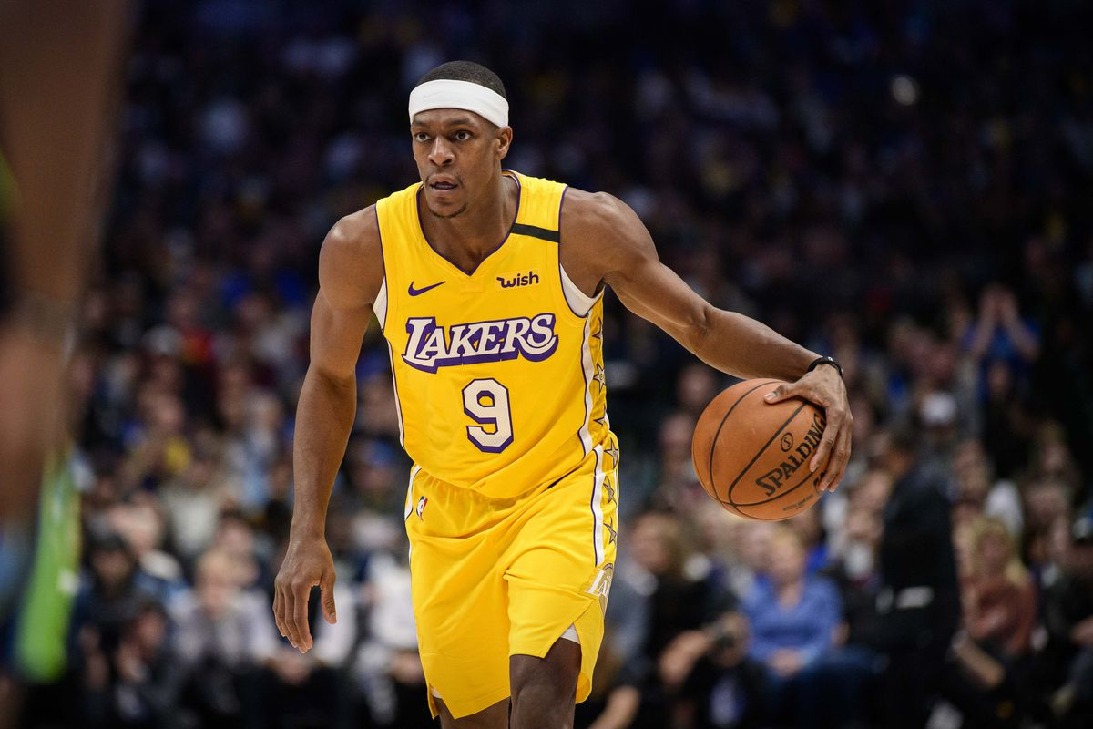 Los Angeles Lakers guard Rajon Rondo in action during the game between the Mavericks and the Lakers at the American Airlines Center.